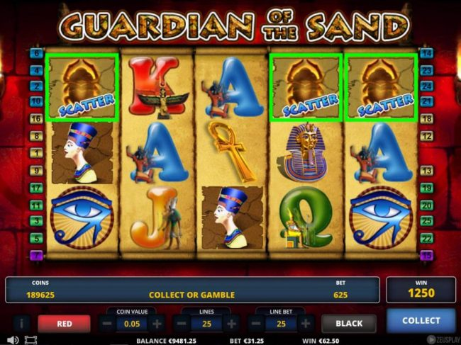 Campeon featuring the Video Slots Guardian of the Sand with a maximum payout of $312,500