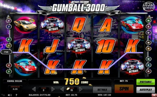 TS featuring the Video Slots Gumball 3000 with a maximum payout of $12,500