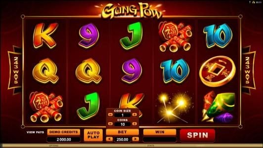 Play slots at Scatters: Scatters featuring the Video Slots Gung Pow with a maximum payout of $30,000