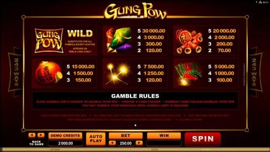 Casino-X featuring the Video Slots Gung Pow with a maximum payout of $30,000