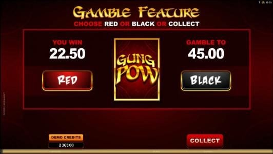 Gamble Feature Game Board - Select red or black for a chance to double your winnings.