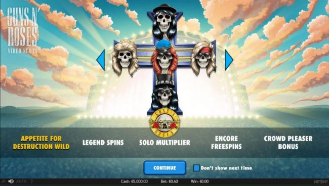 Play slots at Go Wild: Go Wild featuring the Video Slots Guns N' Roses with a maximum payout of $225,000