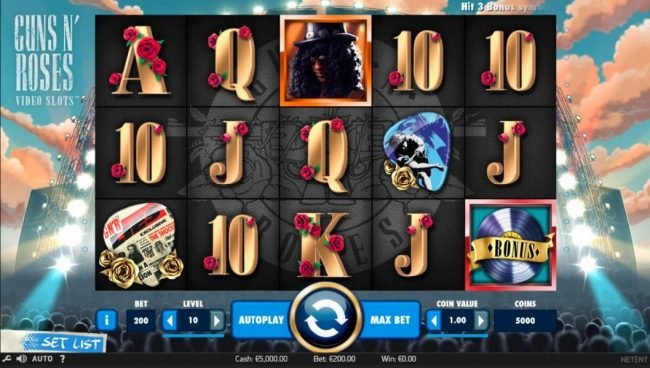 Fika Casino featuring the Video Slots Guns N' Roses with a maximum payout of $225,000