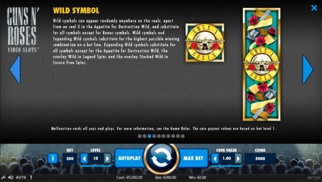 Play slots at VegasMobile: VegasMobile featuring the Video Slots Guns N' Roses with a maximum payout of $225,000