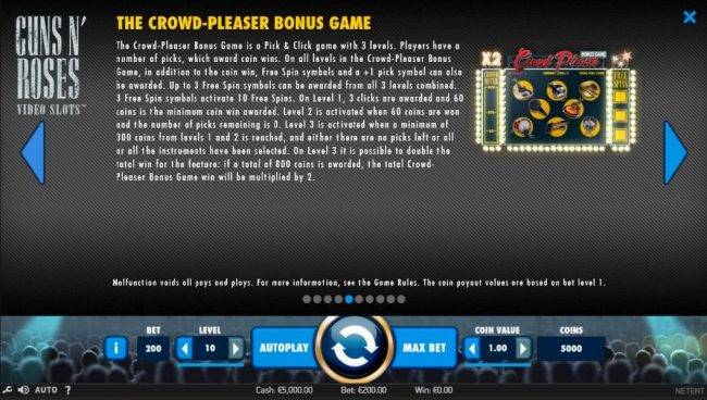 Diamond 7 featuring the Video Slots Guns N' Roses with a maximum payout of $225,000