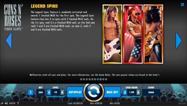 YouWin featuring the Video Slots Guns N' Roses with a maximum payout of $225,000