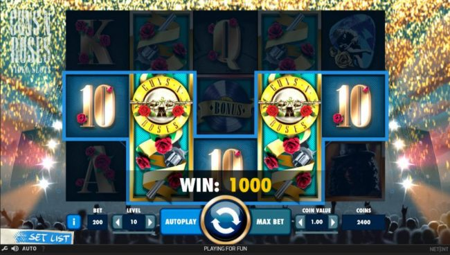 Vegas Spins featuring the Video Slots Guns N' Roses with a maximum payout of $225,000