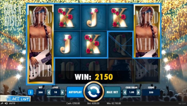 Guru Play featuring the Video Slots Guns N' Roses with a maximum payout of $225,000