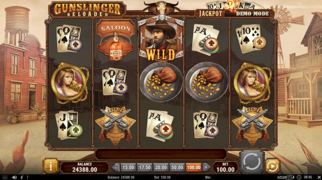 Instacasino featuring the Video Slots Gunslinger Reloaded with a maximum payout of $40,000