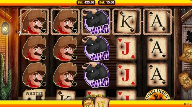 Mobireels featuring the Video Slots Gunslinger's Gold with a maximum payout of $7,500