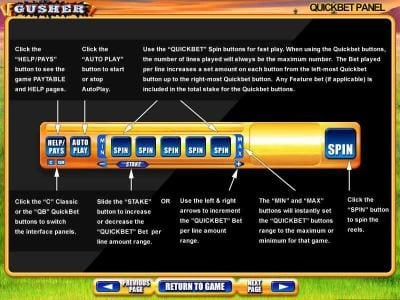 Quickbet Panel layout and description