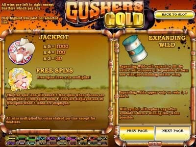 Break Away featuring the Video Slots Gushers Gold with a maximum payout of $2,500