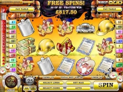 Winbig21 featuring the Video Slots Gushers Gold with a maximum payout of $2,500