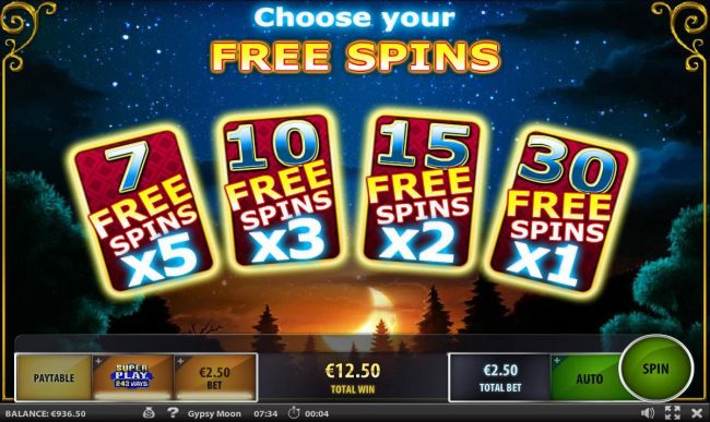 Choose 1 of 4 free spins options