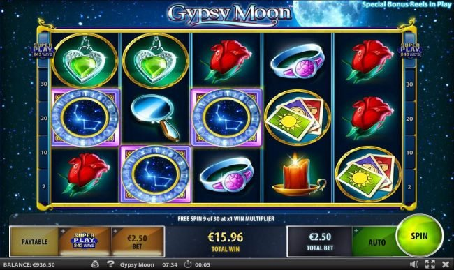 Free Spins can be re-triggered from within the free spins feature.