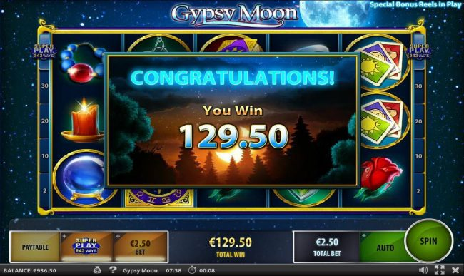 Free Spins feature pays out a total of 129.50