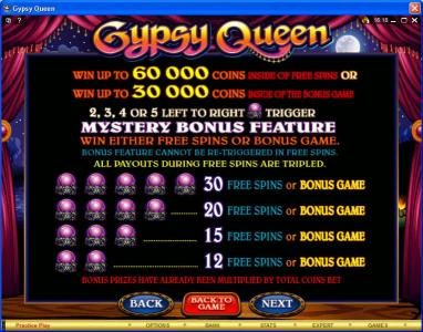 Cabaret Club featuring the Video Slots Gypsy Queen with a maximum payout of $600,000