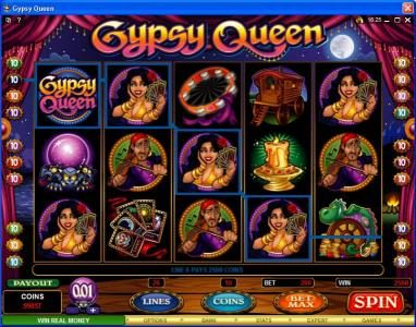Bulldog777 featuring the Video Slots Gypsy Queen with a maximum payout of $600,000