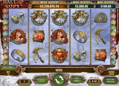 Play slots at Lucky Me Slots: Lucky Me Slots featuring the Video Slots Hall of Gods with a maximum payout of $10,000
