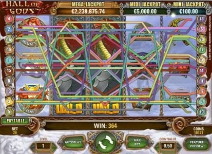Northern Lights featuring the Video Slots Hall of Gods with a maximum payout of $10,000