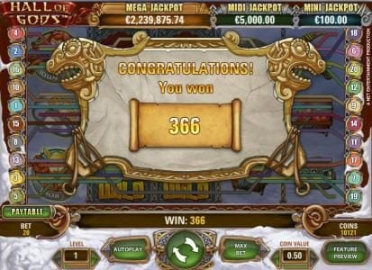 Casino Pop featuring the Video Slots Hall of Gods with a maximum payout of $10,000