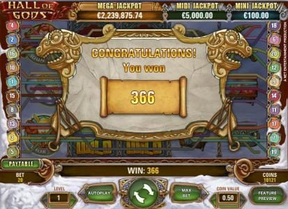 Chomp featuring the Video Slots Hall of Gods with a maximum payout of $10,000