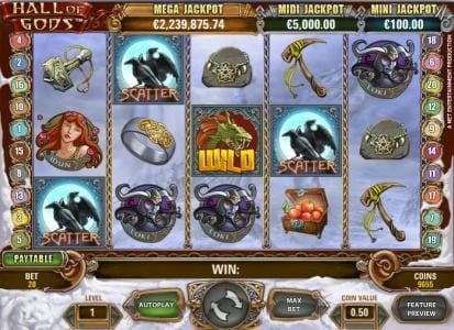 Spinzilla featuring the Video Slots Hall of Gods with a maximum payout of $10,000