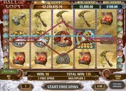 Money Reels featuring the Video Slots Hall of Gods with a maximum payout of $10,000