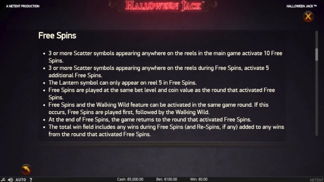 Lord of the Spins featuring the Video Slots Halloween Jack with a maximum payout of $300,000