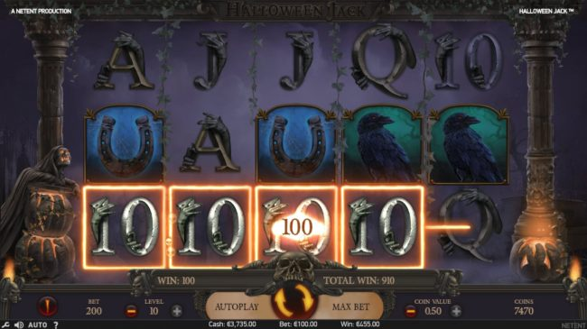 Sin Spins featuring the Video Slots Halloween Jack with a maximum payout of $300,000