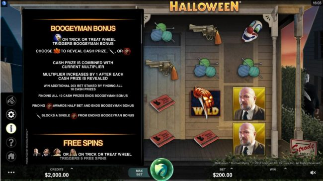 18 Bet featuring the Video Slots Halloween with a maximum payout of $100,000