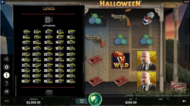 Roxy Palace featuring the Video Slots Halloween with a maximum payout of $100,000