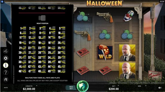 Zodiac featuring the Video Slots Halloween with a maximum payout of $100,000