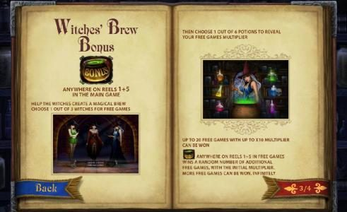 witches' brew bonus anywhere on reels 1 and 5 in the main game