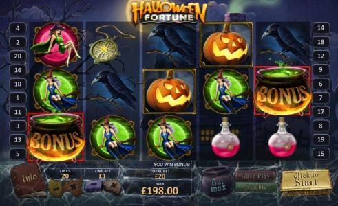 Halloween Fortune :: witches brew bonus triggered on reels 1 and 5