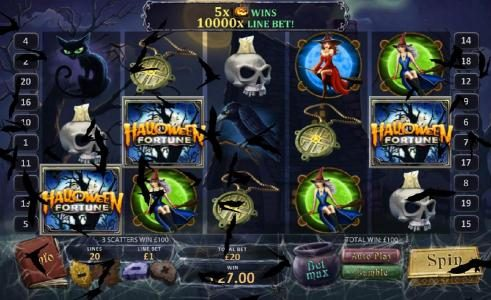 Betfred featuring the Video Slots Halloween Fortune with a maximum payout of $50,000