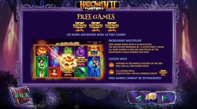 Free Games Rules - Three or more game logo scatter symbols anywhere wins 10 free games with increasing multiplier and locked wild on center reel