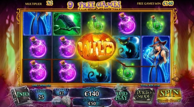 Free Games Game Board - wild is locked on center position for the duration of the free games feature