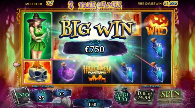 Unleashed featuring the Video Slots Halloween Fortune II with a maximum payout of $75,000