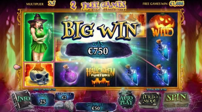 William Hill Casino Club featuring the Video Slots Halloween Fortune II with a maximum payout of $75,000