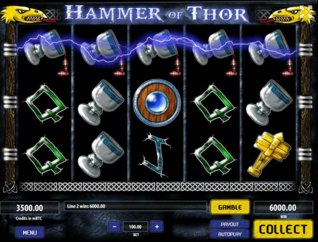 24 Vip featuring the Video Slots Hammer of Thor with a maximum payout of $250,000