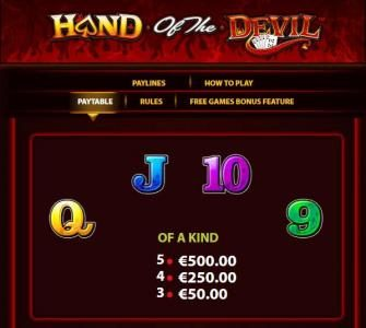 Slot game symbols paytable - queen, jack, ten and nine