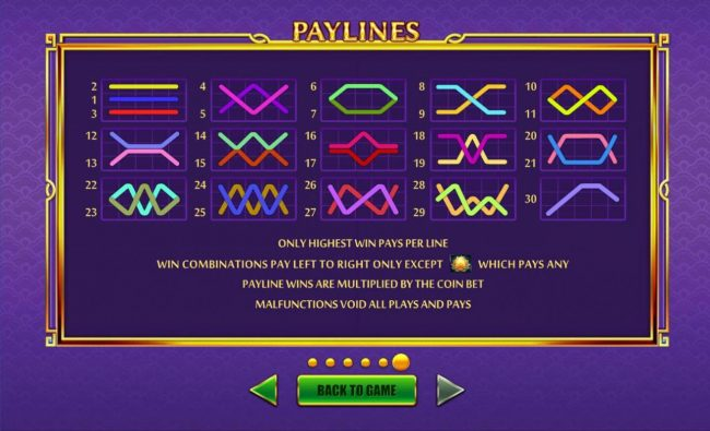 Haoshi Cheng Shuang :: Payline Diagrams 1-30. Only highest win pays per line. Win combinations pay left to right only except scatter which pays any.