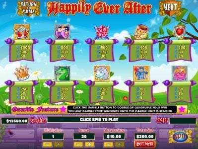 Play slots at Mission 2 Game: Mission 2 Game featuring the Video Slots Happily Ever After with a maximum payout of Jackpot