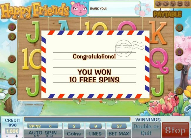 X-Bet featuring the Video Slots Happy Friends with a maximum payout of $900,000