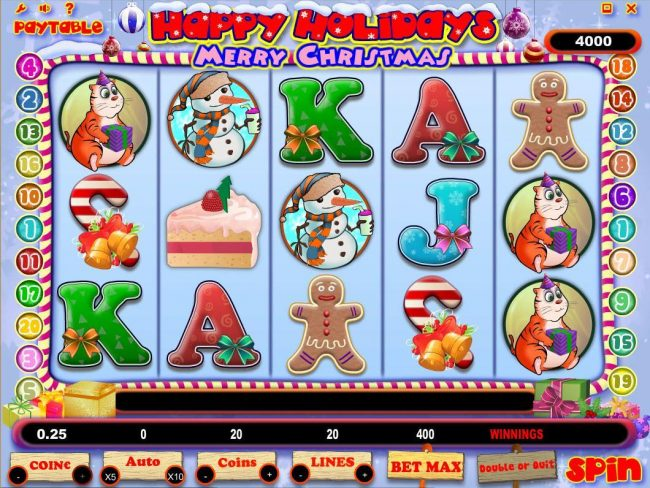 Tangiers featuring the Video Slots Happy Holidays with a maximum payout of $500,000