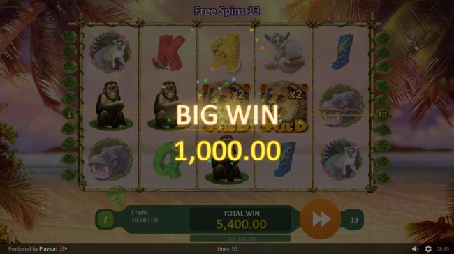 Mongoose Casino featuring the Video Slots Happy Jungle with a maximum payout of $100,000
