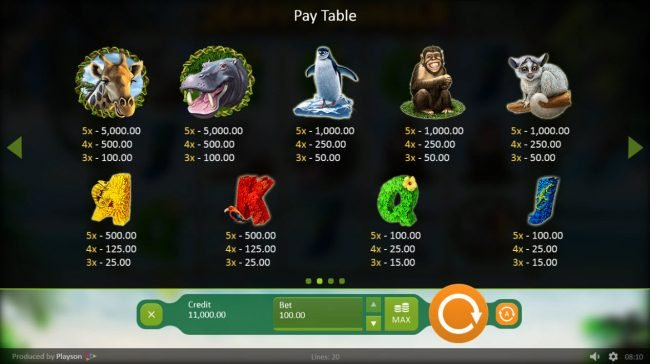 emu Casino featuring the Video Slots Happy Jungle with a maximum payout of $100,000