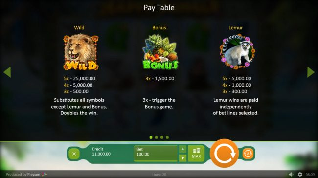Bonanza featuring the Video Slots Happy Jungle with a maximum payout of $100,000