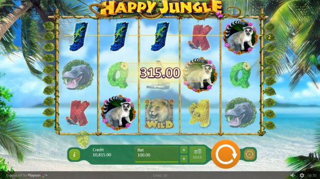 Magik Slots featuring the Video Slots Happy Jungle with a maximum payout of $100,000